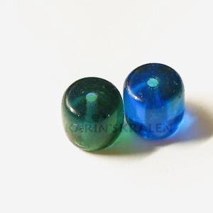 Glaskralen Blauw-Mixkleur Cilinder 8mm